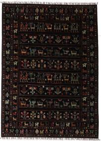 Shabargan Matta 150X205 Äkta Modern Handknuten Mörkbrun (Ull, Afghanistan)