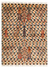 Shabargan Matta 149X198 Äkta Modern Handknuten Ljusbrun/Mörkbrun (Ull, Afghanistan)