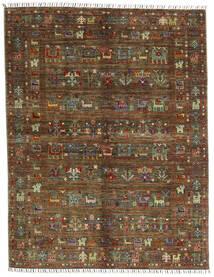 Shabargan Matta 156X201 Äkta Modern Handknuten Mörkbrun/Brun (Ull, Afghanistan)