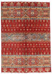 Shabargan Matta 168X240 Äkta Modern Handknuten Mörkröd/Roströd (Ull, Afghanistan)