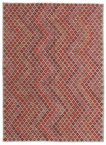Kelim Moderna Matta 182X248 Äkta Modern Handvävd Mörkröd/Ljusgrå (Ull, Afghanistan)