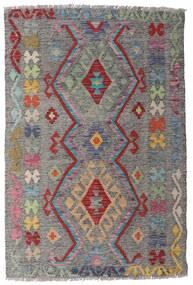 Kelim Afghan Old Style Matta 98X148 Äkta Orientalisk Handvävd Ljusgrå/Mörkgrå (Ull, Afghanistan)