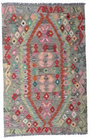 Kelim Afghan Old Style Matta 96X149 Äkta Orientalisk Handvävd Ljusgrå/Mörkgrå (Ull, Afghanistan)