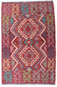 Kelim Afghan Old Style Matta 98X146 Äkta Orientalisk Handvävd Mörkröd/Mörkgrå (Ull, Afghanistan)
