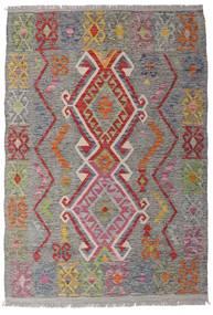 Kelim Afghan Old Style Matta 100X146 Äkta Orientalisk Handvävd Ljusgrå/Mörkgrå (Ull, Afghanistan)