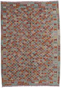 Kelim Afghan Old Style Matta 207X293 Äkta Orientalisk Handvävd Mörkgrå/Ljusgrå/Mörkröd (Ull, Afghanistan)