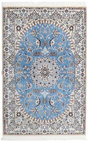Nain 9La Matta 135X206 Äkta Orientalisk Handknuten Ljusgrå/Ljusblå (Ull/Silke, Persien/Iran)