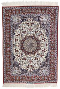 Isfahan Silkesvarp Signerad Intashari Matta 113X158 Äkta Orientalisk Handknuten Ljusgrå/Mörkbrun (Ull/Silke, Persien/Iran)