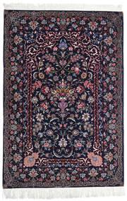 Isfahan Silkesvarp Matta 110X160 Äkta Orientalisk Handknuten Svart/Mörklila (Ull/Silke, Persien/Iran)
