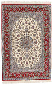 Isfahan Silkesvarp Signerad Entashari Matta 161X241 Äkta Orientalisk Handknuten Beige/Ljusgrå/Mörkbrun (Ull/Silke, Persien/Iran)