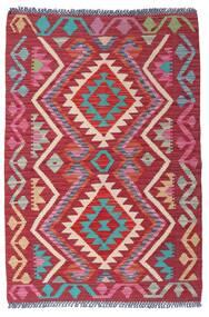 Kelim Afghan Old Style Matta 98X145 Äkta Orientalisk Handvävd Röd (Ull, Afghanistan)