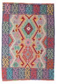 Kelim Afghan Old Style Matta 105X147 Äkta Orientalisk Handvävd Ljusgrå/Mörkgrå (Ull, Afghanistan)