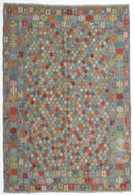 Kelim Afghan Old Style Matta 208X298 Äkta Orientalisk Handvävd Mörkgrå/Ljusgrå (Ull, Afghanistan)