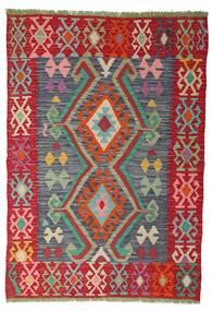 Kelim Afghan Old Style Matta 100X141 Äkta Orientalisk Handvävd Roströd/Röd (Ull, Afghanistan)