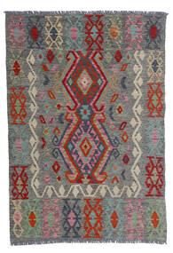 Kelim Afghan Old Style Matta 100X143 Äkta Orientalisk Handvävd Mörkgrå/Mörkröd (Ull, Afghanistan)