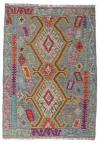 Kelim Afghan Old Style Matta 100X141 Äkta Orientalisk Handvävd Mörkgrå/Ljusgrå (Ull, Afghanistan)
