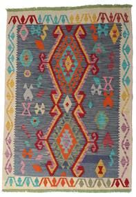 Kelim Afghan Old Style Matta 106X151 Äkta Orientalisk Handvävd Mörkgrå/Mörkröd (Ull, Afghanistan)