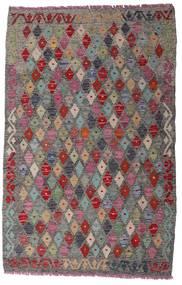 Kelim Afghan Old Style Matta 102X159 Äkta Orientalisk Handvävd Ljusgrå/Rosa (Ull, Afghanistan)