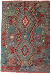Kelim Afghan Old Style Matta 96X139 Äkta Orientalisk Handvävd Mörkgrå/Mörkröd (Ull, Afghanistan)