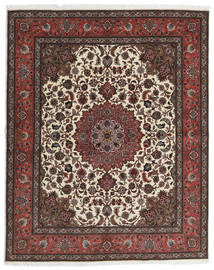 Tabriz 60 Raj Silkesvarp Matta 201X248 Äkta Orientalisk Handknuten Mörkbrun/Mörkröd (Ull/Silke, Persien/Iran)