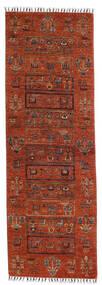 Shabargan Matta 76X225 Äkta Modern Handknuten Hallmatta Röd/Mörkbrun (Ull, Afghanistan)