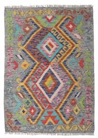 Kelim Afghan Old Style Matta 81X115 Äkta Orientalisk Handvävd Ljusgrå/Mörkgrå (Ull, Afghanistan)