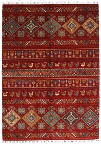 Shabargan Matta 172X237 Äkta Modern Handknuten Röd/Mörkröd/Roströd (Ull, Afghanistan)