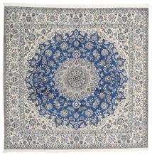 Nain 9La Matta 245X253 Äkta Orientalisk Handknuten Kvadratisk Ljusgrå/Beige (Ull/Silke, Persien/Iran)
