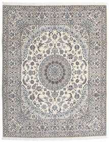 Nain 9La Matta 245X310 Äkta Orientalisk Handknuten Ljusgrå/Beige (Ull/Silke, Persien/Iran)