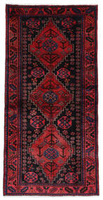 Hamadan Matta 104X208 Äkta Orientalisk Handknuten Mörklila/Mörkröd (Ull, Persien/Iran)