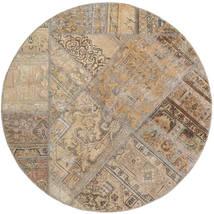 Patchwork - Persien/Iran Matta Ø 150 Äkta Modern Handknuten Rund Ljusgrå/Ljusbrun (Ull, Persien/Iran)
