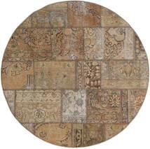 Patchwork - Persien/Iran Matta Ø 150 Äkta Modern Handknuten Rund Ljusbrun/Ljusgrå (Ull, Persien/Iran)