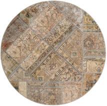 Patchwork - Persien/Iran Matta Ø 150 Äkta Modern Handknuten Rund Ljusgrå/Brun (Ull, Persien/Iran)