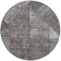 Patchwork - Persien/Iran Matta Ø 150 Äkta Modern Handknuten Rund Ljusgrå/Mörkgrå (Ull, Persien/Iran)