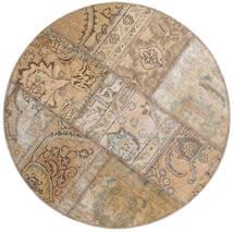 Patchwork - Persien/Iran Matta Ø 100 Äkta Modern Handknuten Rund Ljusgrå/Ljusbrun (Ull, Persien/Iran)