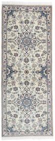 Nain 9La Matta 79X201 Äkta Orientalisk Handknuten Hallmatta Ljusgrå/Mörkgrå (Ull/Silke, Persien/Iran)