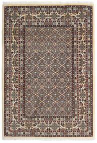 Moud Matta 100X146 Äkta Orientalisk Handknuten Mörkbrun/Beige (Ull/Silke, Persien/Iran)