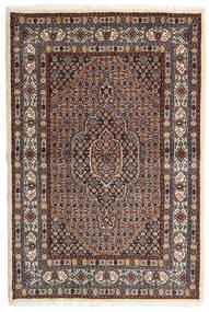 Moud Matta 98X147 Äkta Orientalisk Handknuten Mörkbrun/Mörkröd (Ull/Silke, Persien/Iran)
