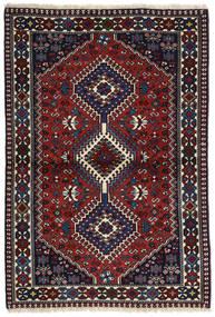 Yalameh Matta 100X147 Äkta Orientalisk Handknuten Svart/Mörkröd (Ull, Persien/Iran)