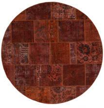 Patchwork - Persien/Iran Matta Ø 200 Äkta Modern Handknuten Rund Mörkbrun/Mörkröd (Ull, Persien/Iran)