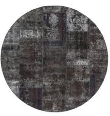 Patchwork - Persien/Iran Matta Ø 200 Äkta Modern Handknuten Rund Svart/Brun (Ull, Persien/Iran)