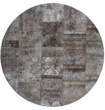 Patchwork - Persien/Iran Matta Ø 200 Äkta Modern Handknuten Rund Mörkgrå/Ljusgrå (Ull, Persien/Iran)