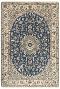 Nain 9La Matta 147X214 Äkta Orientalisk Handknuten Ljusgrå/Mörkblå (Ull/Silke, Persien/Iran)