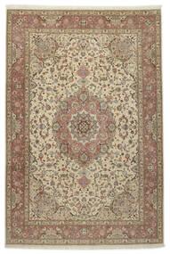 Tabriz 50 Raj Med Silke Matta 245X360 Äkta Orientalisk Handknuten Ljusgrå/Ljusbrun (Ull/Silke, Persien/Iran)