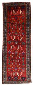 Hamadan Matta 112X330 Äkta Orientalisk Handknuten Hallmatta Mörkröd/Roströd/Svart (Ull, Persien/Iran)