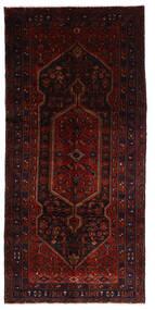 Hamadan Matta 146X308 Äkta Orientalisk Handknuten Hallmatta Mörkröd (Ull, Persien/Iran)