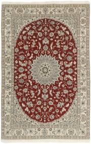 Nain 9La Matta 133X213 Äkta Orientalisk Handknuten Ljusgrå/Mörkröd (Ull/Silke, Persien/Iran)