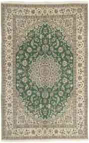 Nain 9La Matta 198X310 Äkta Orientalisk Handknuten Ljusgrå/Mörkgrön (Ull/Silke, Persien/Iran)