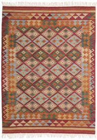 Kelim Adana Matta 140X200 Äkta Modern Handvävd Mörkröd/Ljusbrun (Ull, Indien)