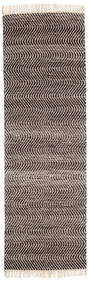 Chinara - Svart/Vit Matta 80X250 Äkta Modern Handvävd Hallmatta Mörkbrun/Ljusgrå (Ull, Indien)